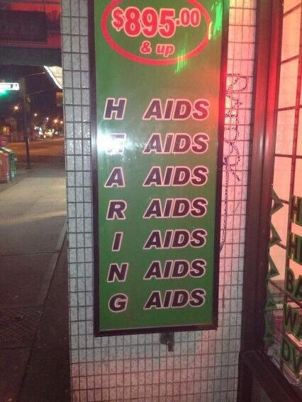 image of an ad for hearing aids that looks like just the word aids being repeated