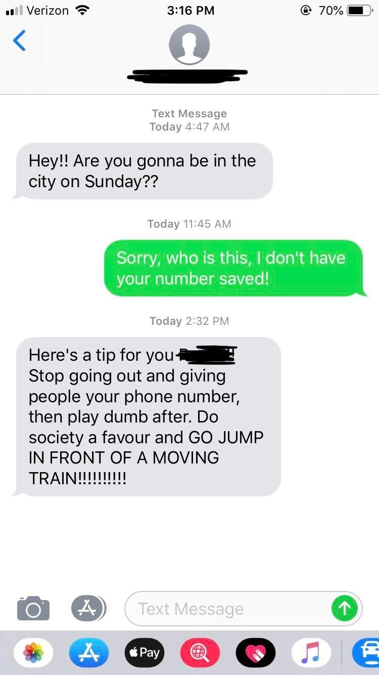 text messages from stranger telling person to jump in front of train for not having their number saved