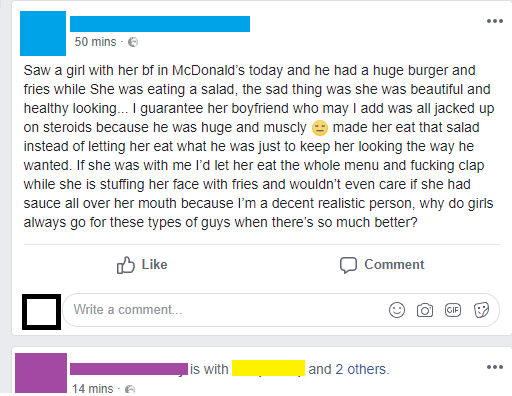 cringey Facebook post from nice guy saying he would let his girlfriend eat the whole menu