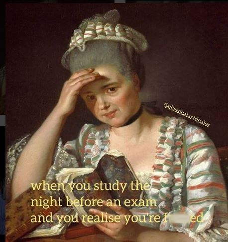 meme about studying for an exam the night before and realizing you're not ready