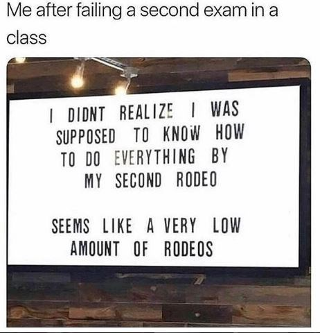 meme about failing a second exam in a class
