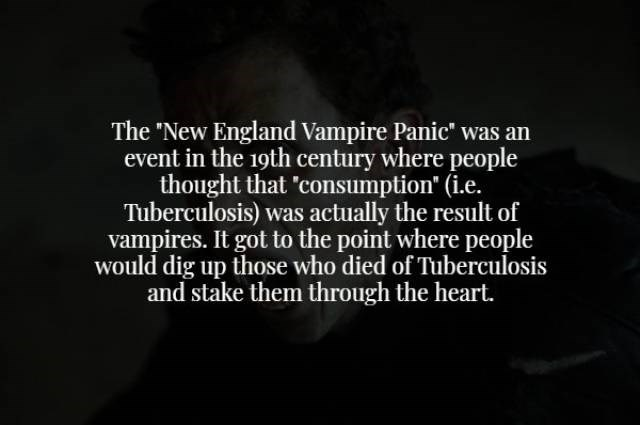 Text - The 'New England Vampire Panic' was an event in the 19th century where people thought that 'consumption (i.e. Tuberculosis) was actually the result of vampires. It got to the point where people would dig up those who died of Tuberculosis and stake them through the heart.