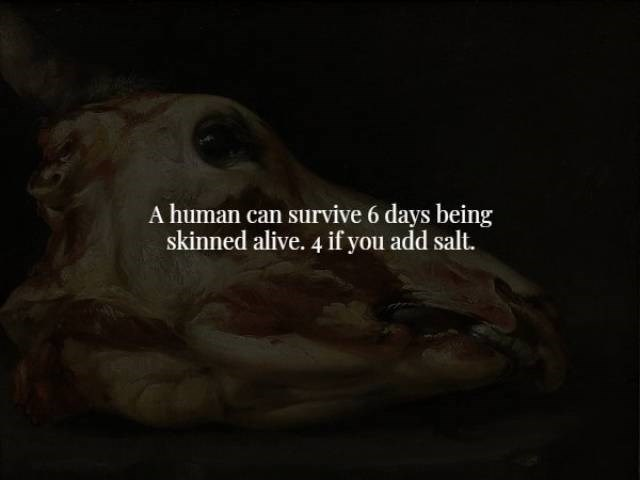 Organism - A human can survive 6 days being skinned alive. 4 if you add salt.