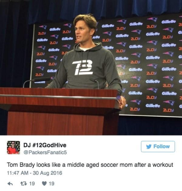 Tweet about how Tom Brady looks like middle aged soccer mom