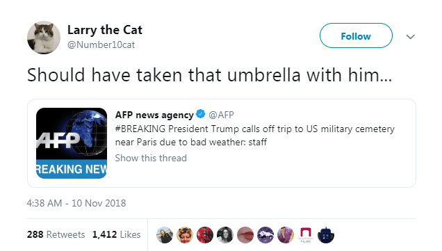 Text - Larry the Cat Follow @Number10cat Should have taken that umbrella with him... AFP news agency @AFP #BREAKING President Trump calls off trip to US military cemetery AFP near Paris due to bad weather: staff Show this thread REAKING NEW 4:38 AM - 10 Nov 2018 288 Retweets 1,412 Likes