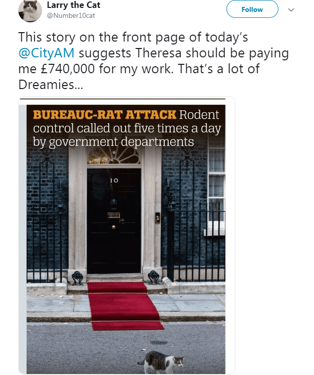 Text - Text - Larry the Cat Follow @Number10cat This story on the front page of today's @CityAM suggests Theresa should be paying me £740,000 for my work. That's a lot of Dreamies... BUREAUC-RAT ATTACK Rodent control called out five times a day by government departments t