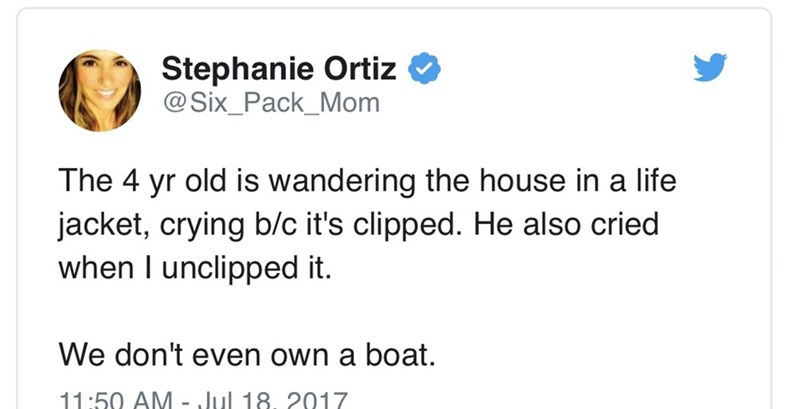 tweet post about a kid who's crying in a life jacket and his family doesn't own a boat