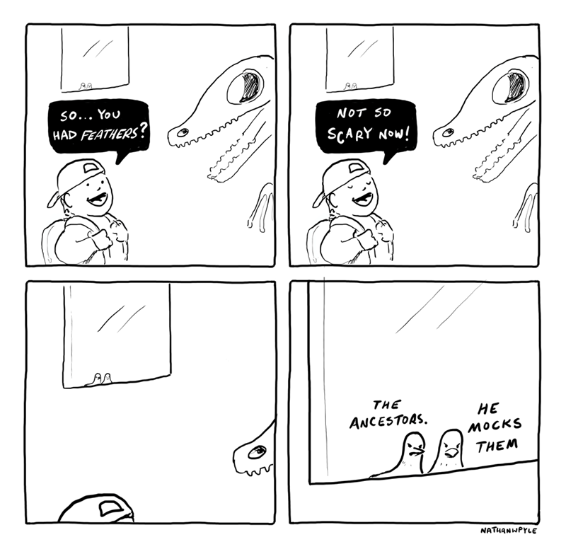 meme about Dinosaurs and how they had feathers