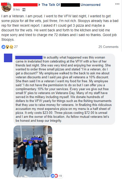 Facebook post calling out restaurant for mistreating veterans and owner replying that they offered a discount but the complainer demanded free food