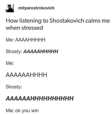 Tumblr post about relaxing to music by Shostakovich