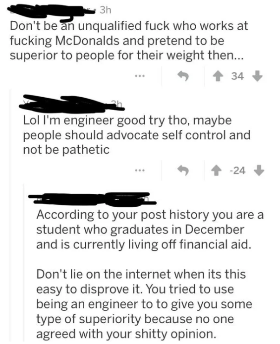 Reddit thread with person lying about being an engineer and second person calling them out for it