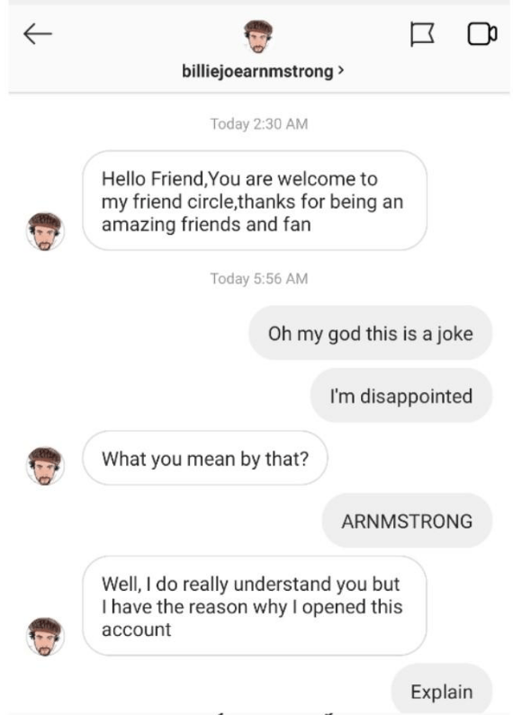 Instagram direct messages between fake Billie Joe Armstrong account and dubious fan
