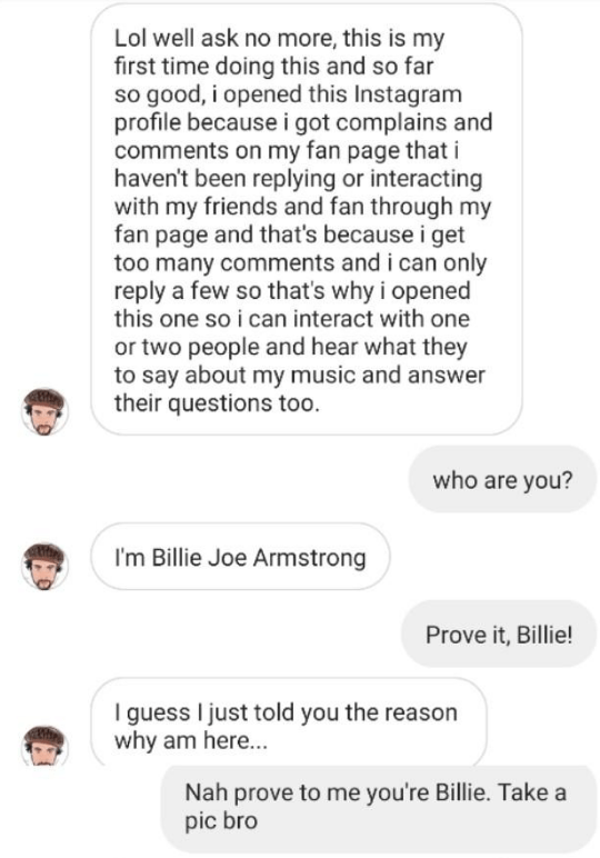 fake Billie Joe Armstrong Instagram account trying to convince fan they're legitimate and fan demanding proof