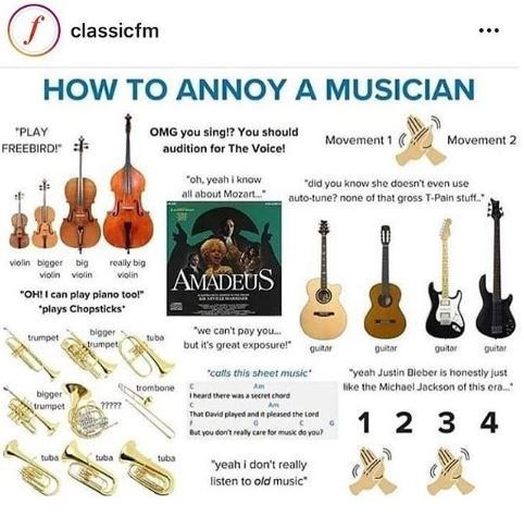 meme about different ways to annoy a musician