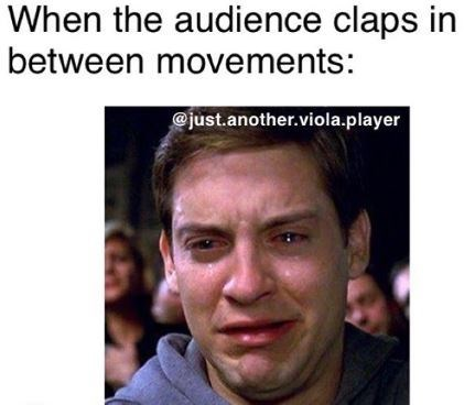 """Caption that reads, """"When the audience claps between movements"""" above a pic of Tobey Maguire crying"""