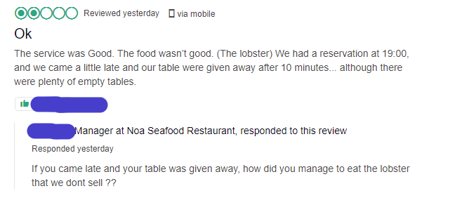 bad restaurant review on Tripadvisor and manager replying pointing out the inconsistencies in the story