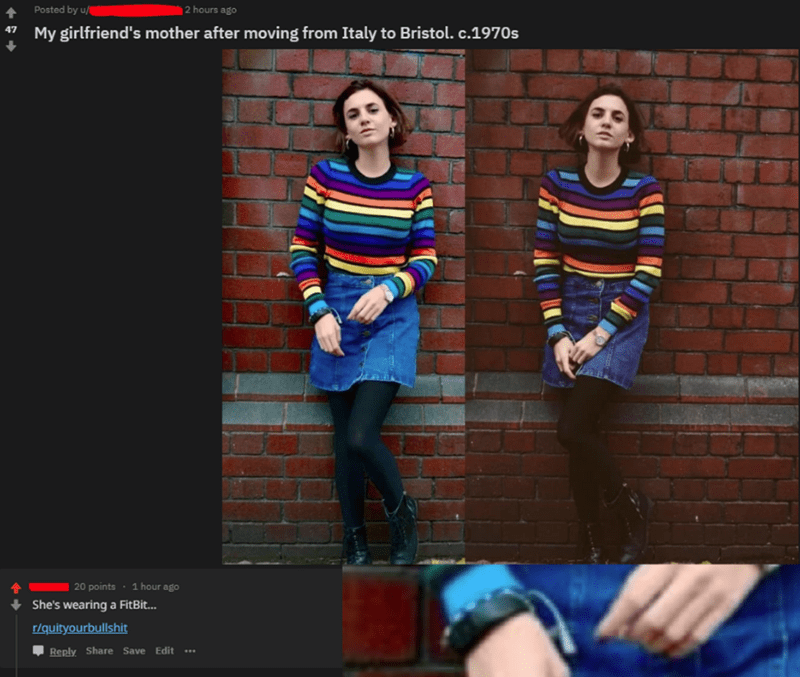 Reddit post claiming to show photo from the 70s and comment pointing out there's a FitBit in the picture