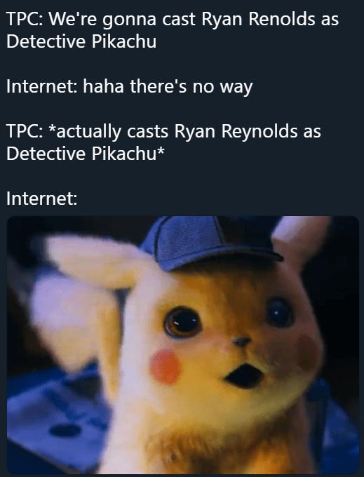 Detective Pikachu meme shocked that Ryan Renolds was cast as Pikachu