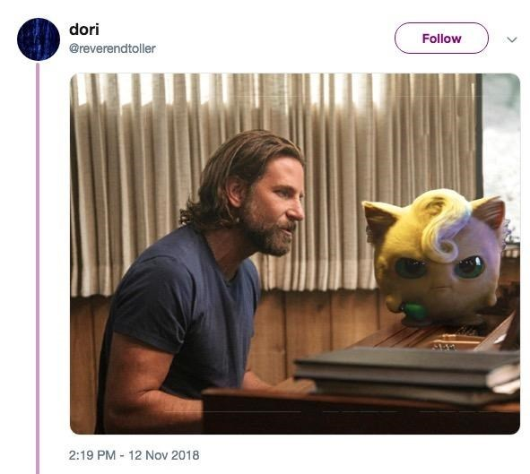 Detective Pikachu memes with Bradley Cooper playing the piano next to JIgglypuff