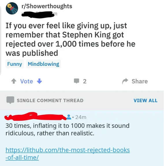 Reddit post claiming Stephen King got rejected over 1000 times and comment proving it's an exaggeration