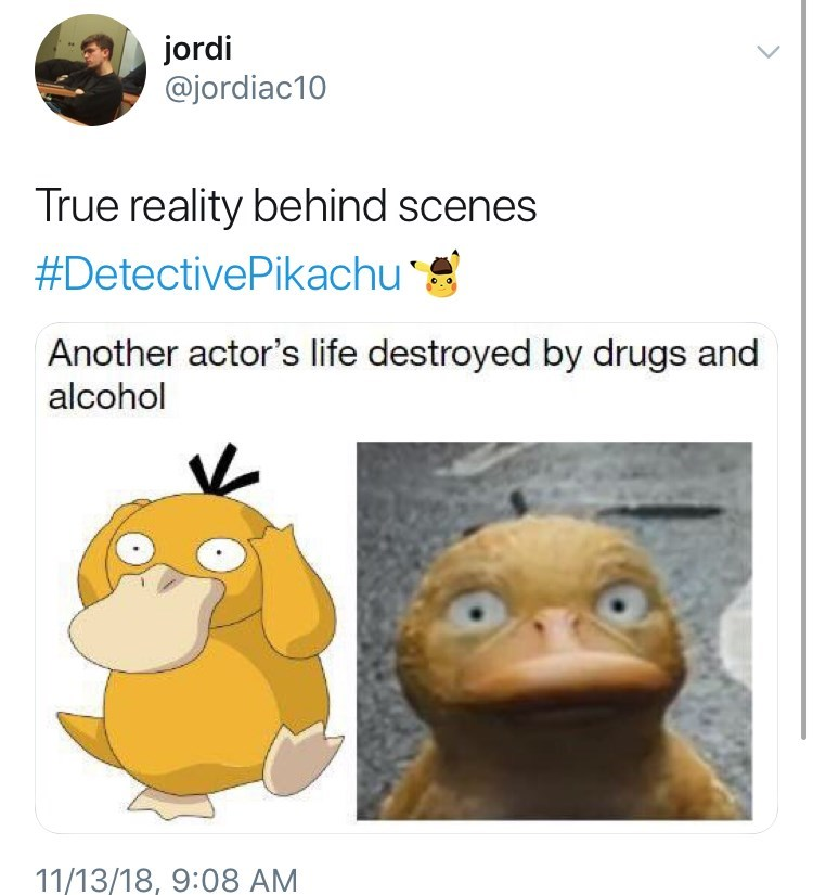 Detective Pikachu meme with psyduck detective