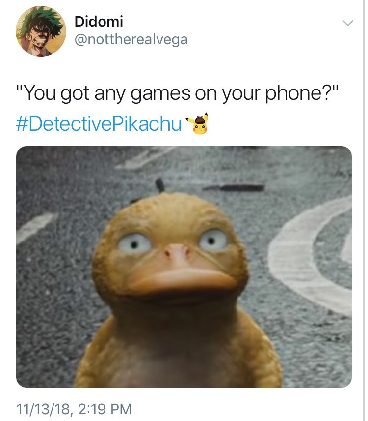 Detective Pikachu meme with psyduck detective asking if there are games on the phone