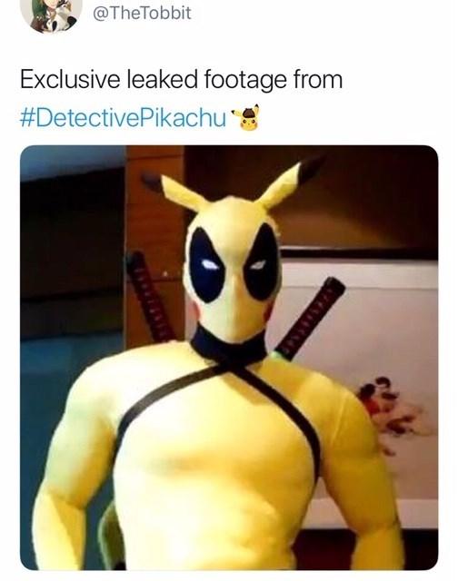 Detective Pikachu meme of Pikahcu looking like a superhero