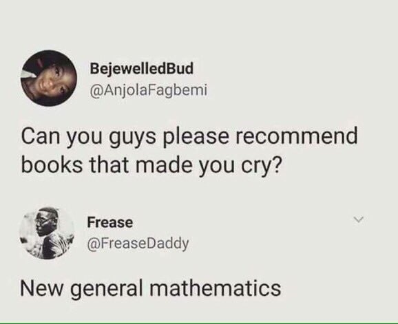 tweet post about books that make people cry and people answered mathematics