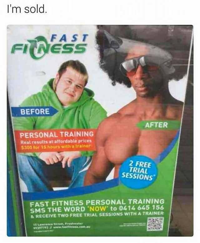 meme about a personal training that changes your ethnicity