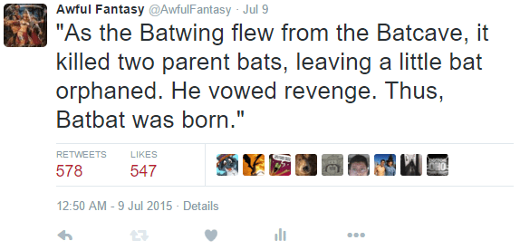 tweet post about a bat and how it got its name