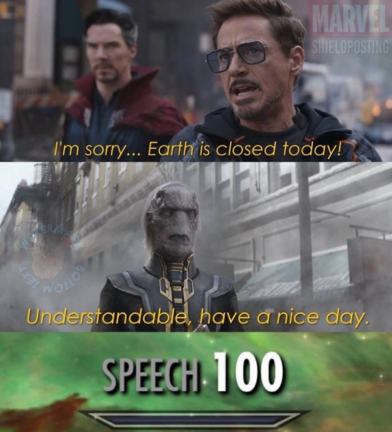 meme about speech 100 and the avengers saying earth is closed today to a villian