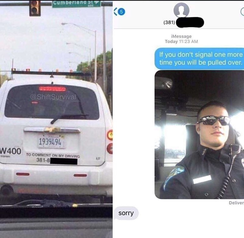 meme about a police officer texting a driver that he's speeding