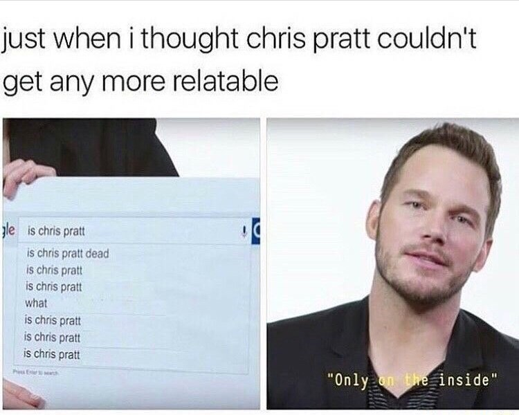 post about chris pratt saying he is dead on the inside
