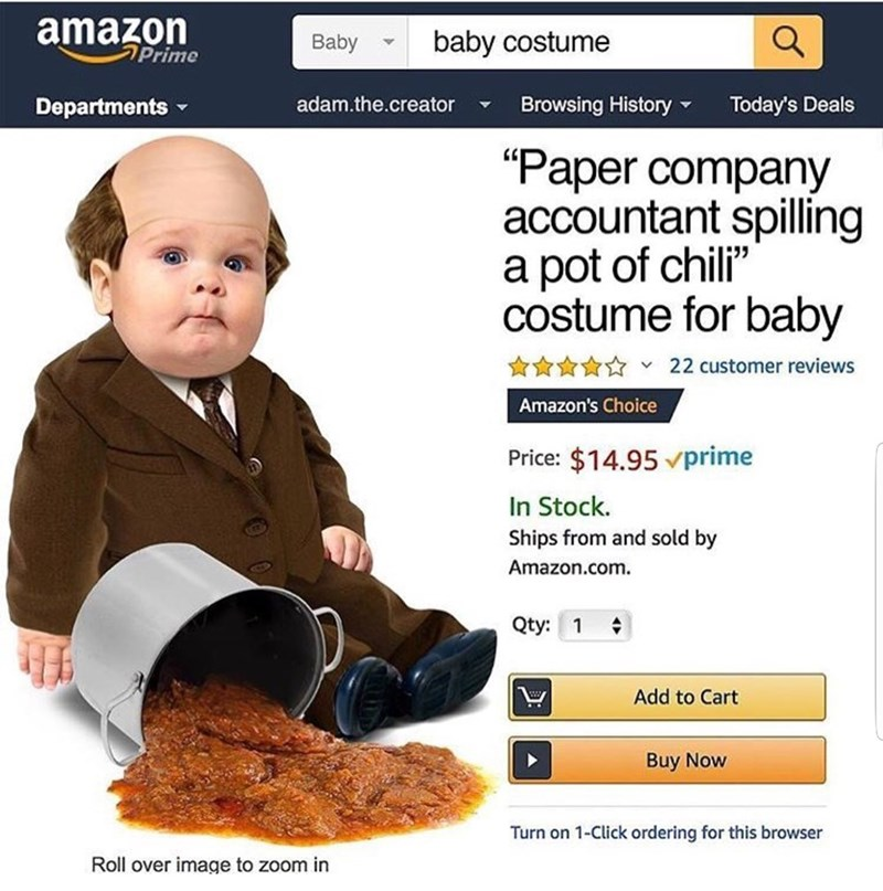 meme about kevin from the office and a costume of spilling chili for Halloween