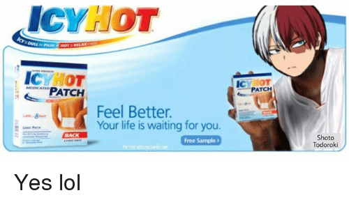 ad for icy hot with an anime character