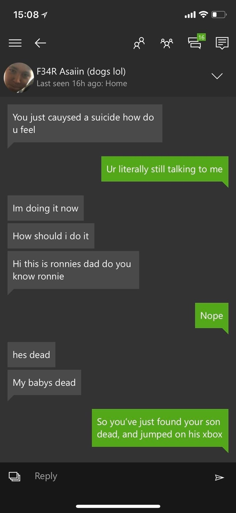 text message about a dad finding out his son is dead and going on his xbox right after