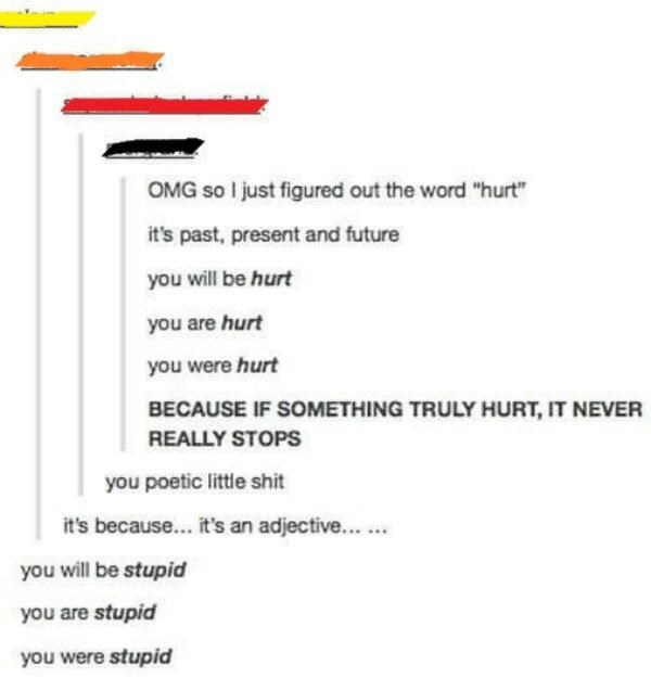 tumblr post about the word hurt being an adjective