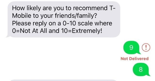 text message from T-Mobile asking how likely the customer is to recommend them to other and the message reply doesn't go through