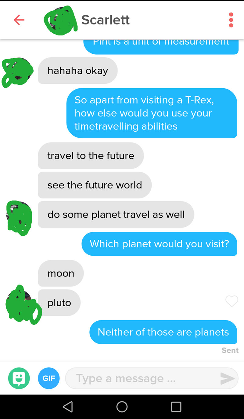 text message about what planet would you visit and the person responds with moon and Pluto