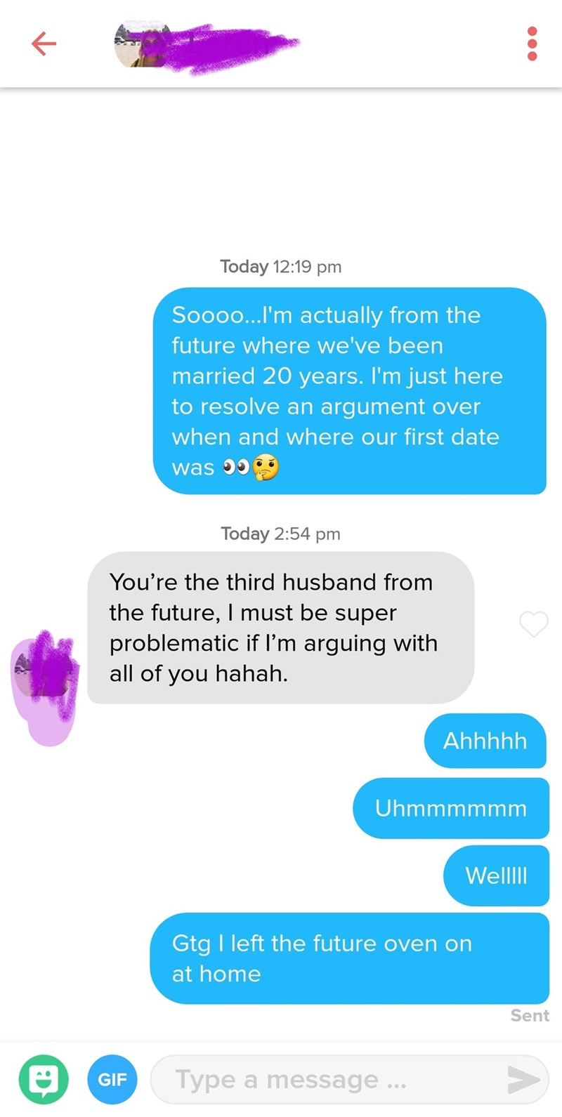 tinder post of a guy claiming to be a girls future husband