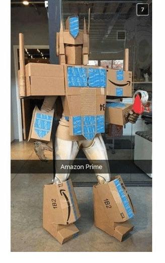 pun on Amazon prime being transformer Optimus Prime made of Amazon cardboard boxes