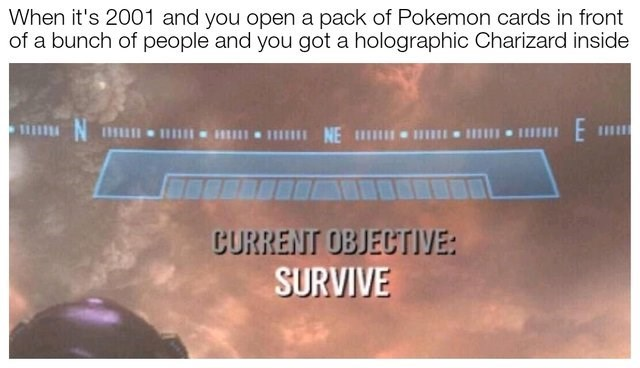 meme about getting a holographic pokemon card