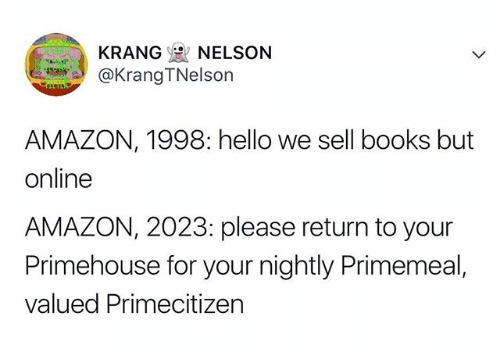 Tweet about the evolution of Amazon from online bookstore to civilization overruler
