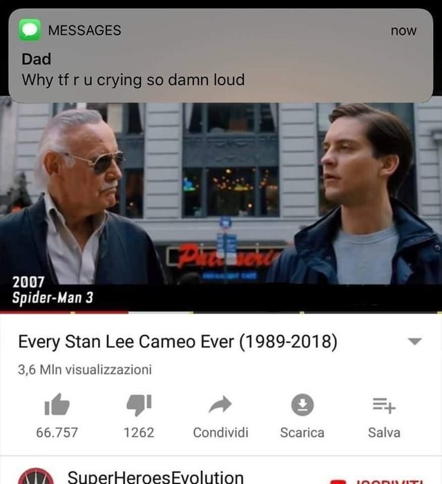 dank meme about crying when watching stan lee cameos