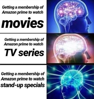expanding brain meme about reason to get Amazon prime membership