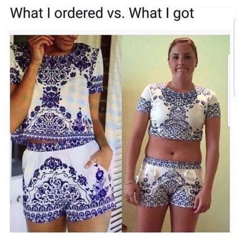 meme about online shopping and ordering something that looks different on you than on the model