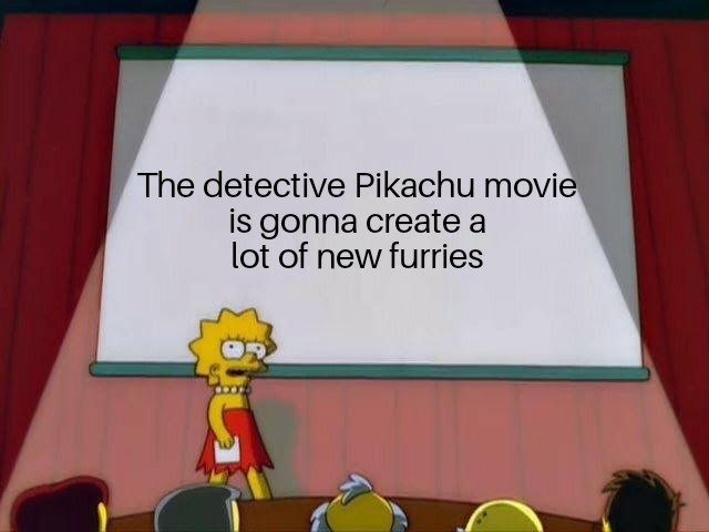 meme about the new pikachu movie and how it will create new furries