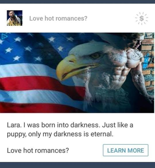 ad of the USA flag and a man fading into each other for a romance novel