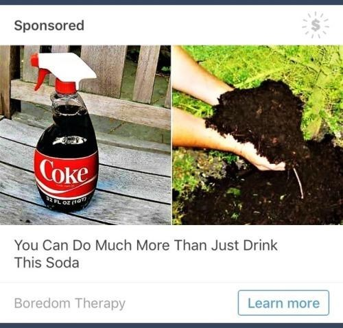 "Ad text that reads, ""You can do much more than just drink this soda"" below a pic of a Windex bottle with Coke in it next to a pic of someone holding a pile"