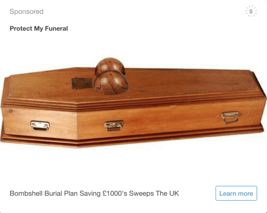 ad for a coffin that has two round mounds for the chest area for a 'bombshell burial plan'